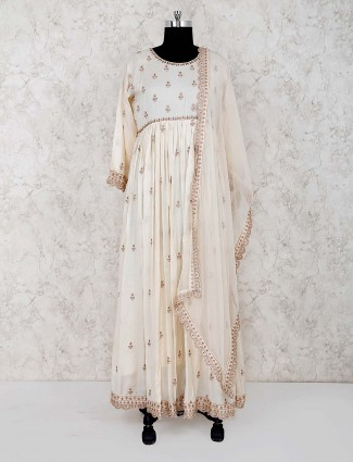 Cream color festive wear cotton floor length anarkali salwar usit