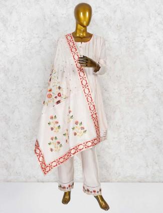 Cream color festive wear punjabi salwar suit