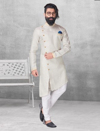 Cream color silk kurta suit