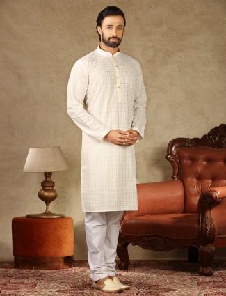 Cream cotton elegant look festive kurta suit