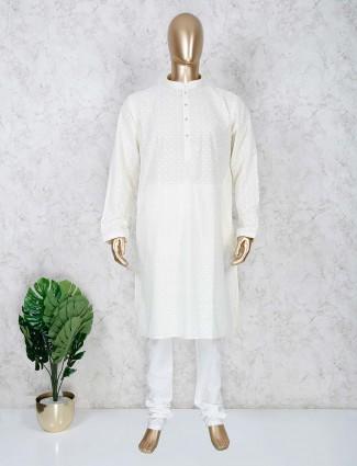 Cream cotton evening look festive kurta suit