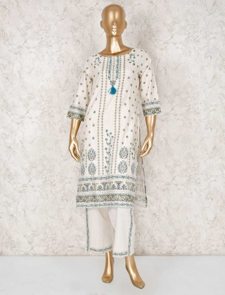 Cream cotton festive wear punjabi pant suit