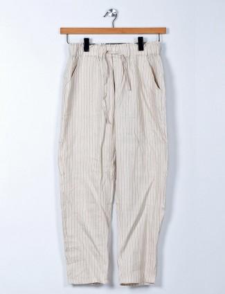 Cream cotton palazzo pant for women