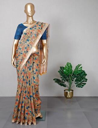 Cream cotton printed saree for women
