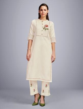 Cream cotton punjabi pant suit for festive wear