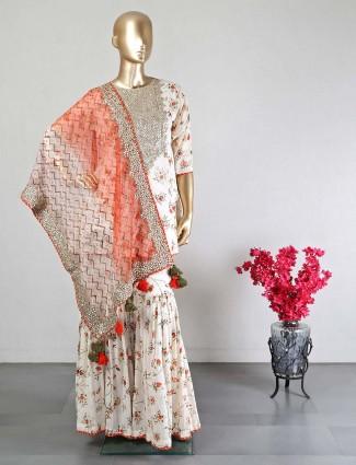 Cream cotton punjabi sharara suit for women