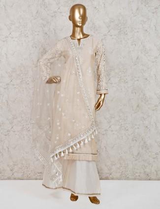 Cream cotton silk festive wear palazzo suit