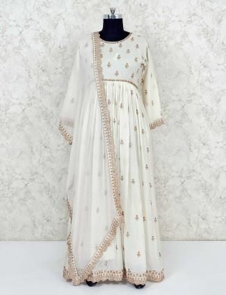 Cream cotton wedding anarkali suit