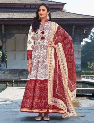 Cream floor length Anarkali suit for festive session