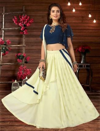 Cream georgette designer lehenga choli for wedding