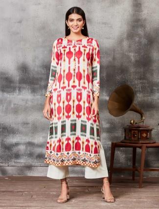 Cream hue printed  raw silk punjabi salwar suit