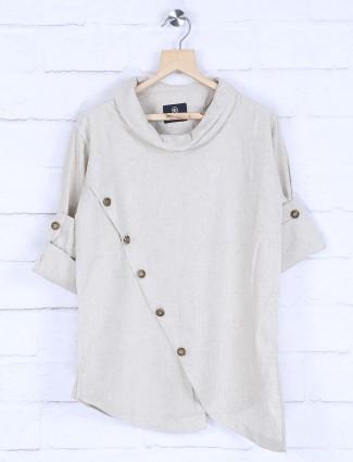 Cream hue solid cotton fabric kurta