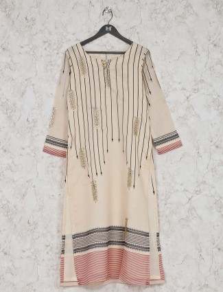 Cream kurti design in cotton