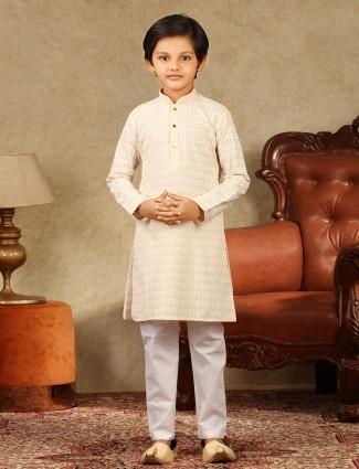 Cream lakhnavi georgette kurta suit