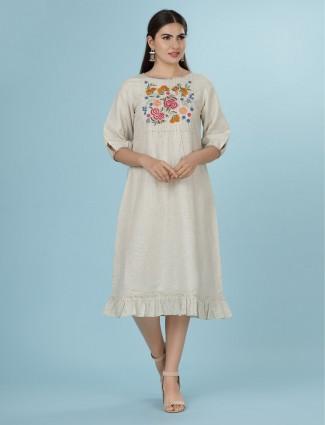 Cream linen festive function kurti
