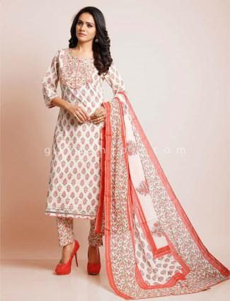 Cream palazzo suit for festive in cotton