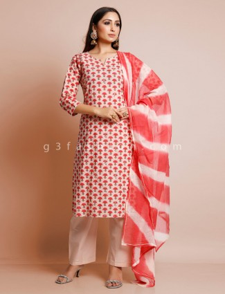 Pretty pink printed cotton palazzo suit