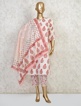 Cream printed cotton suit for festive function