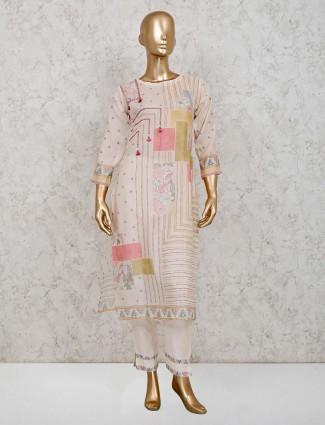 Cream printed pant salwar suit