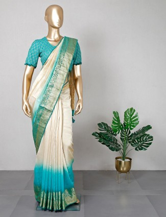 Cream silk saree for festive with ready made blouse