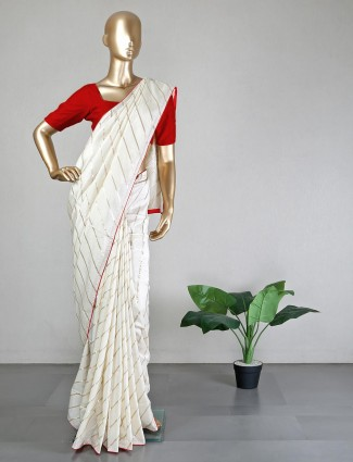 Cream silk saree for women