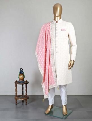 Cream silk wedding wear men sherwani