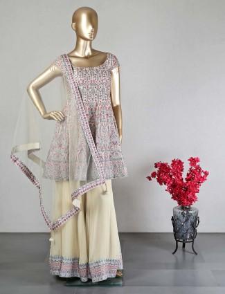 Cream silk wedding wear palazzo suit