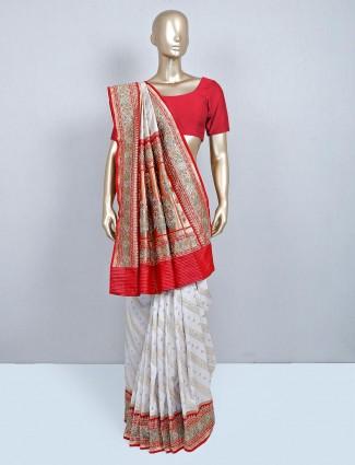 Cream silk wedding wear sari