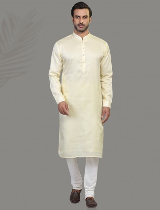 Cream solid cortton kurta suit festive wear