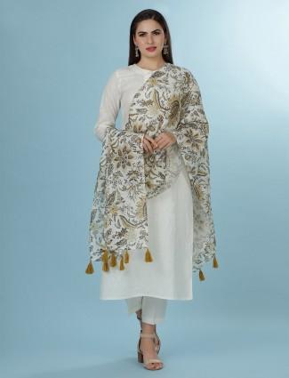 Cream solid linen quarter sleeves kurti