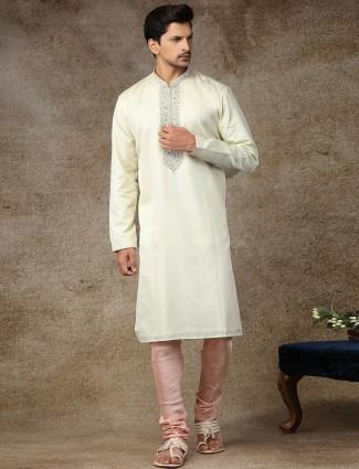 Cream stand neck cotton kurta suit