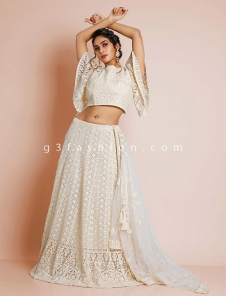 Cream wedding lehenga for womens inflated with thread details