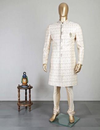 Cream wedding occasion silk sherwani for men
