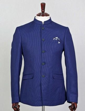 Dark blue terry rayon jodhpuri party wear blazer