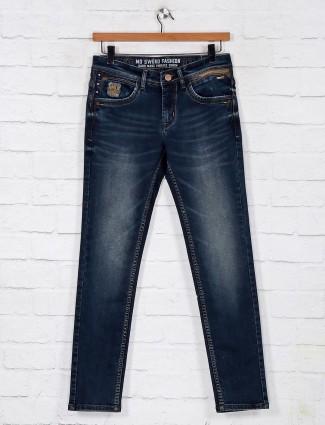 Dark blue washed denim jeans for mens