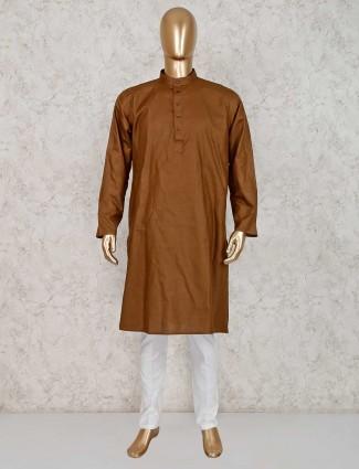 Dark brown solid cotton kurta suit