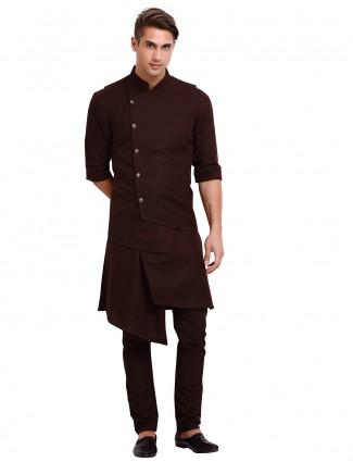 Dark brown solid cotton waistcoat set party wear