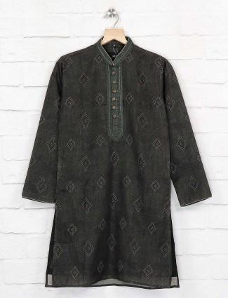 Dark green cotton fabric festive kurta suit