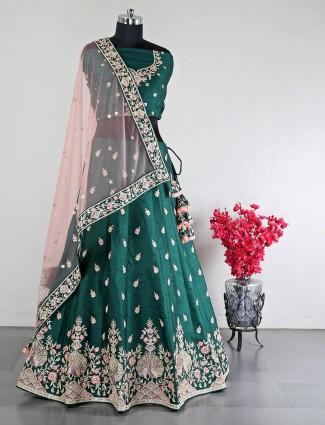 Dark green raw silk lehenga for women