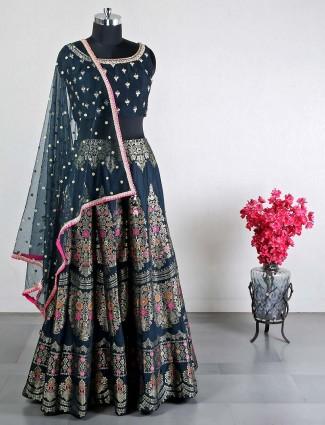 Dark green raw silk wedding wear lehenga choli