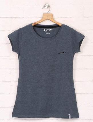Dark grey cotton casual tshirts