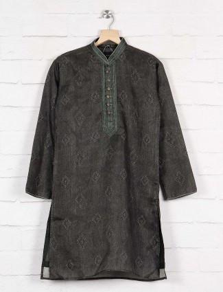 Dark grey cotton fabric kurta suit