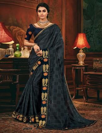 Dark grey cotton silk for wedding function