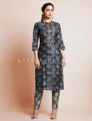 Dark grey printed cotton festive punjabi pant suit