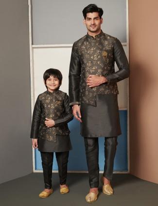 Dark grey raw silk father and son waistcoat set