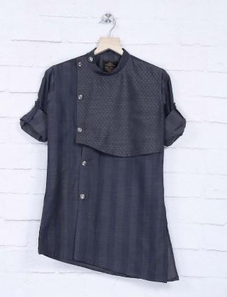 Dark grey stripe pattern full sleeves kurta suit