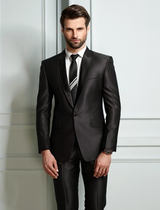 Dark grey terry rayon party function mens coat suit