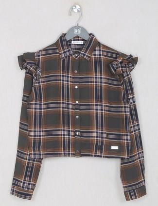 Dark olive checks cotton casual wear top