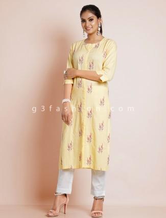 Dashing lemon yellow casual wear cotton kurti