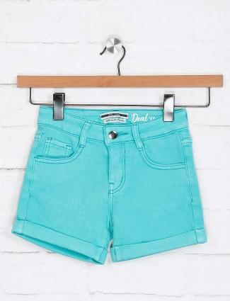 Deal aqua solid denim shorts